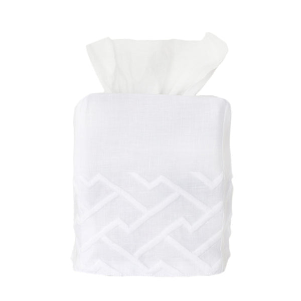 White Shanghai Tissue Box Cover