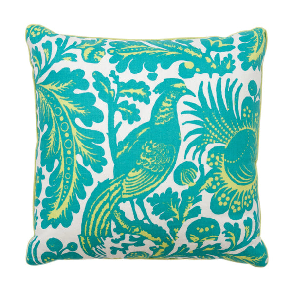 Aqua and Lime Peacock Pillow