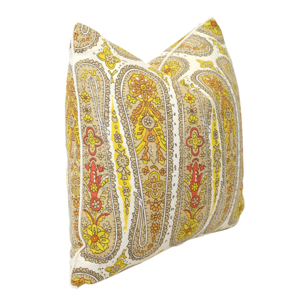 Yellow Paisley Pillow