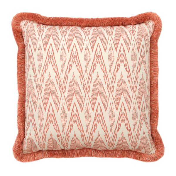 Coral and Cream Chevron Pillow