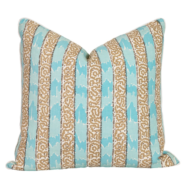 Turquoise and Brown Batik Pillow