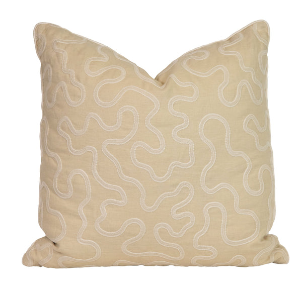 Neutral Winding Ribbon Pillow