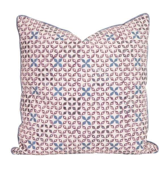 Hand Block and Embroidered Lavender Pillow