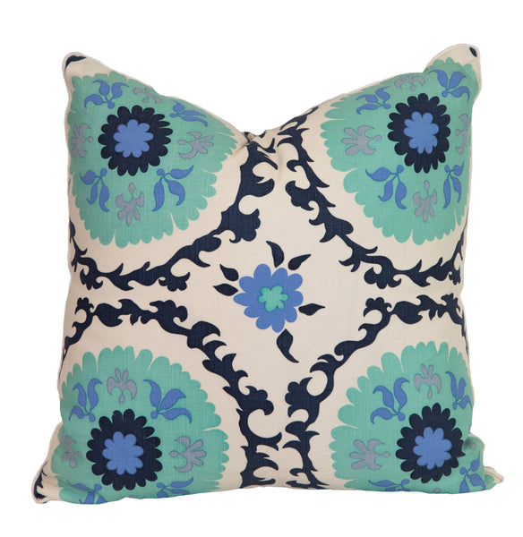 Multi Blue Medallion Pillow