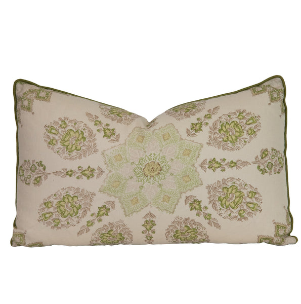 Green Medallion Lumbar Pillow