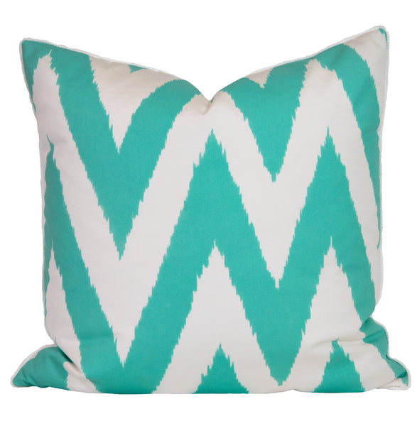 Outdoor Seafoam Chevron Pillow