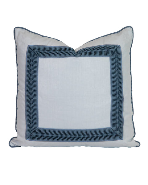 Soft Blue Chintz Linen with Pleated Tape Pillow