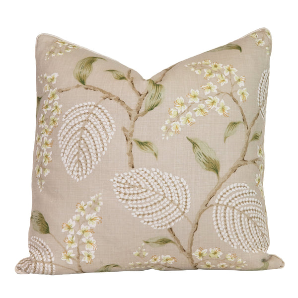 Leaf Green Floral Throw Pillow