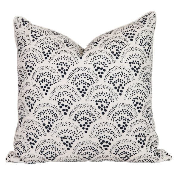 Indigo Polka Dotted Scallop Throw Pillow