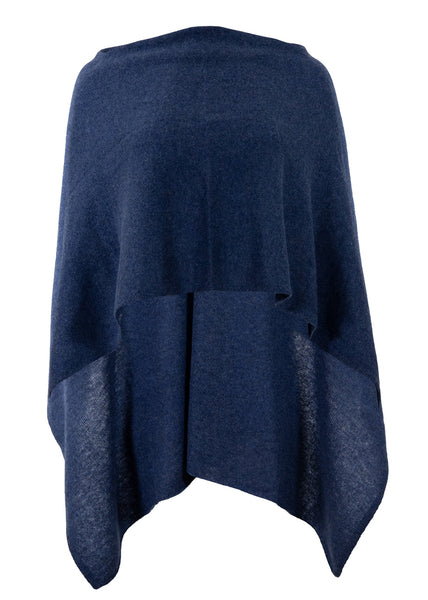 Alashan Cashmere Draped Dress Topper, Denim, 100% Cashmere