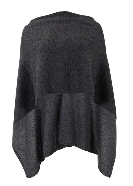 Alashan Cashmere Draped Dress Topper, Charcoal, 100% Cashmere