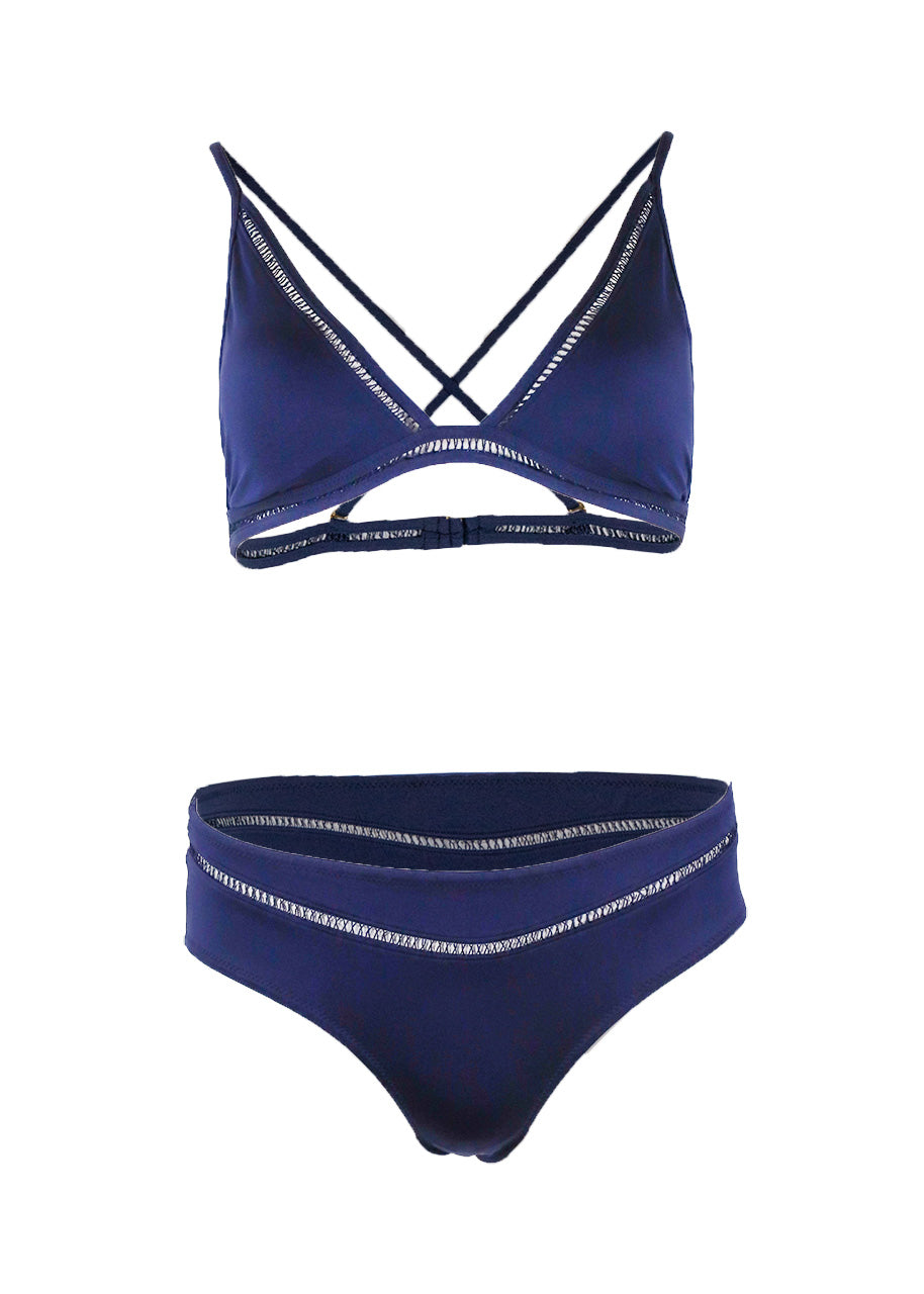 Paolita Chapman Triangle Top & Mid-Rise Bottom Set, Navy