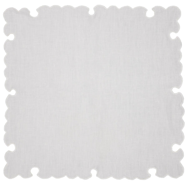 linen cocktail napkins, white with white baron scallop, set of 4