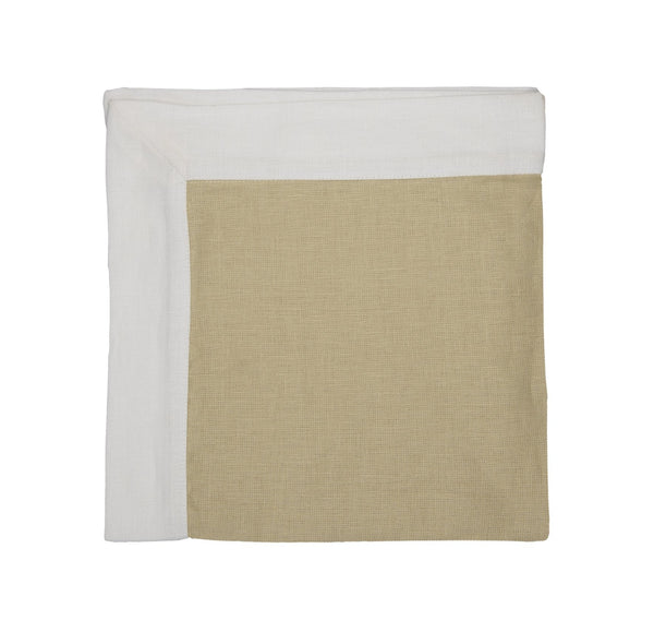 Parchment/white linen napkins, wide band