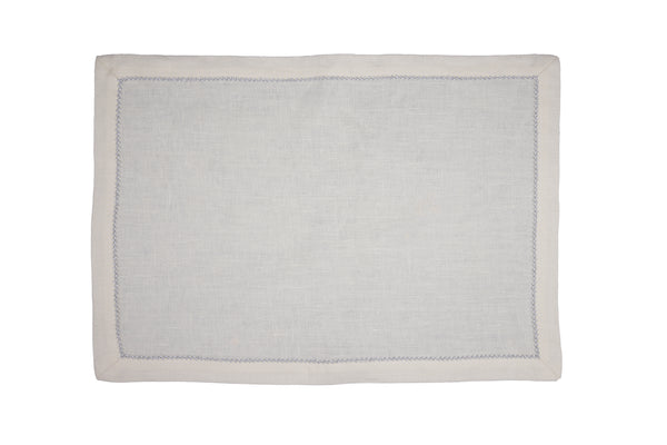linen placemats, yucatan beach with white pico edge