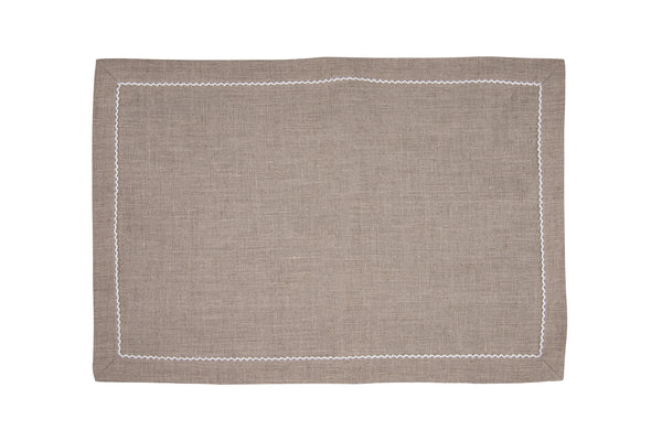 linen placemats, dark natural/white pico edge