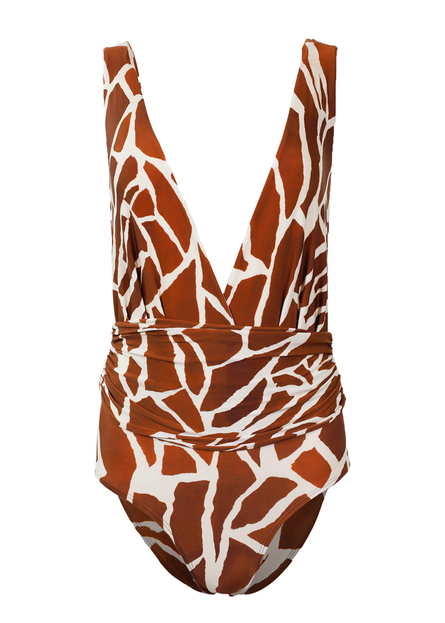 Lenny Niemeyer Cachecouer Ruched One Piece Swimsuit, Giraffe