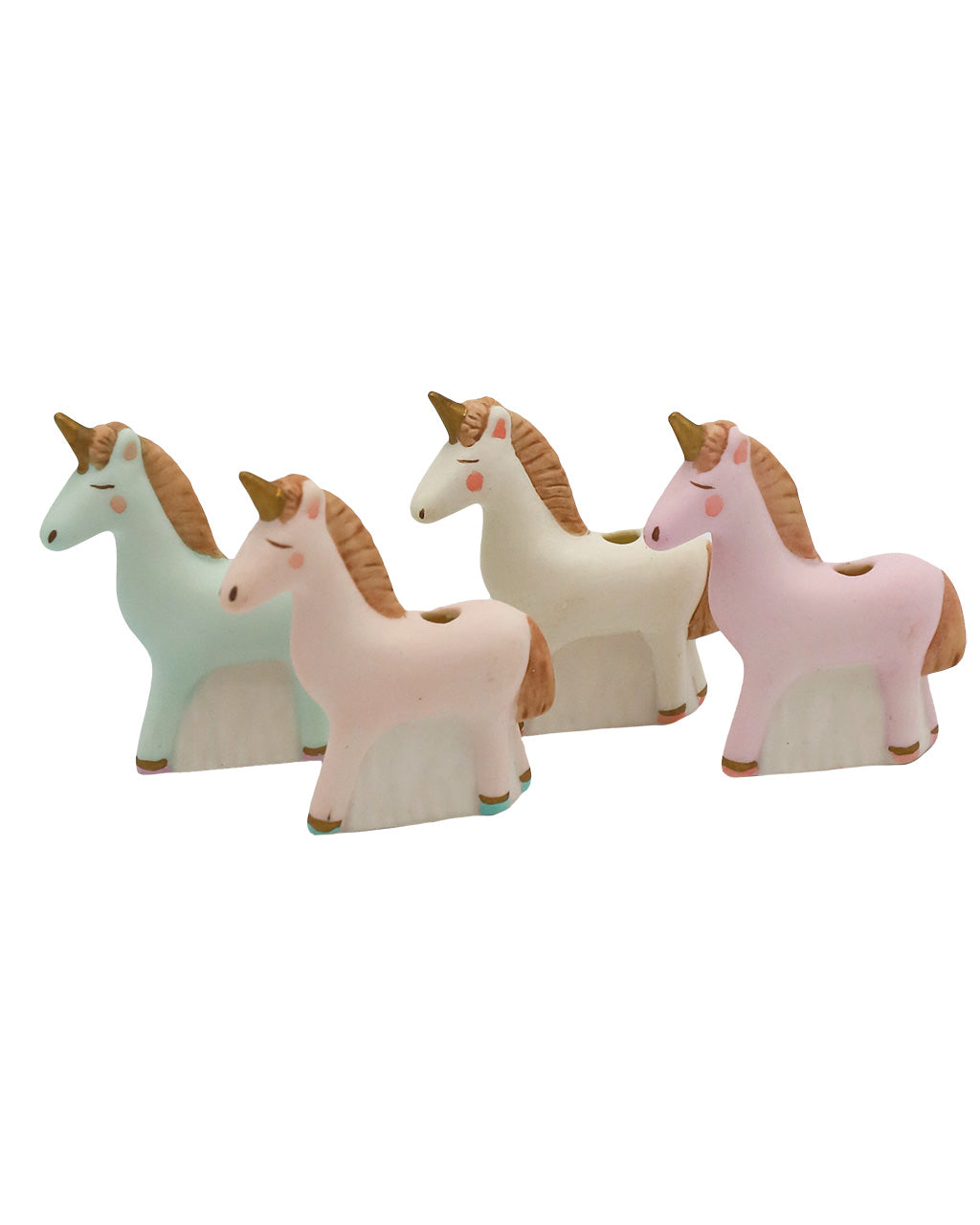 Glitterville Unicorn Candle Holders, Set/4