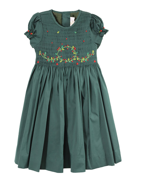 Clara Evergreen Balloon Sleeve Dress with Christmas Wreath