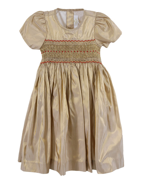 Louise Gold SS Dress w/ Smocking and Red Reversible Ribbon