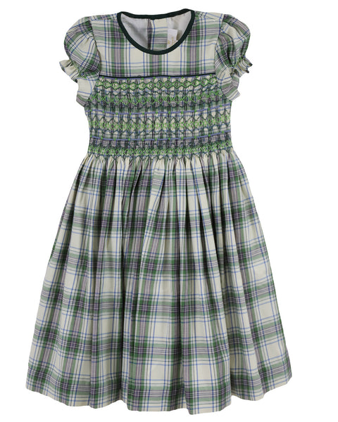 Sophie Green Plaid Balloon Sleeve Dress