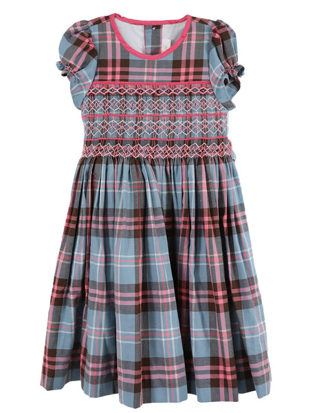 Sophie Pink Plaid Balloon Sleeve Dress