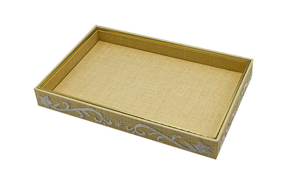 valentina embroidered raffia vanity tray