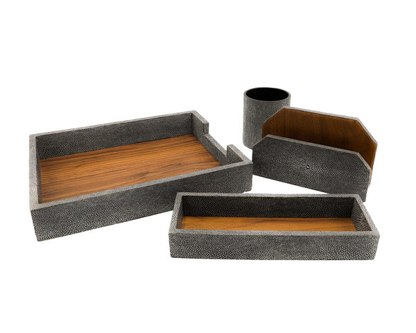 Pigeon & Poodle Crosby Cool Gray Shagreen Desk Set