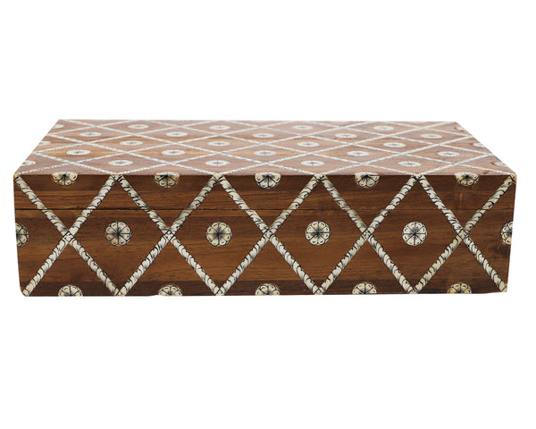 wood bone inlay box, large