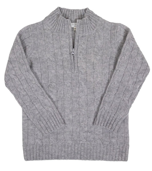 HIVE Cashmere Children's Quarter Zip Cable Knit Sweater