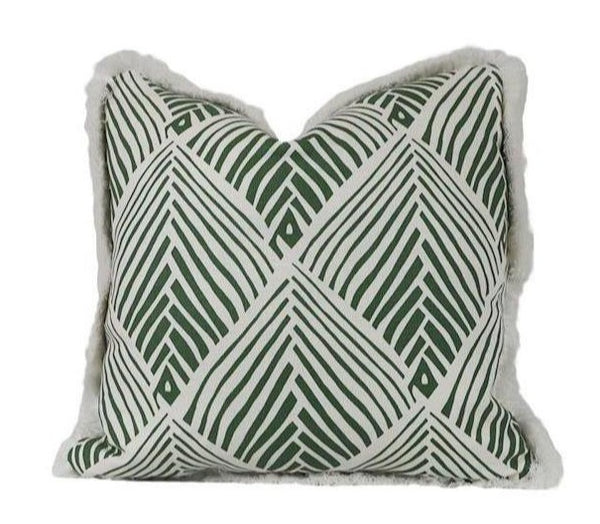 Bahia Lawn Pillow with Brush Fringe
