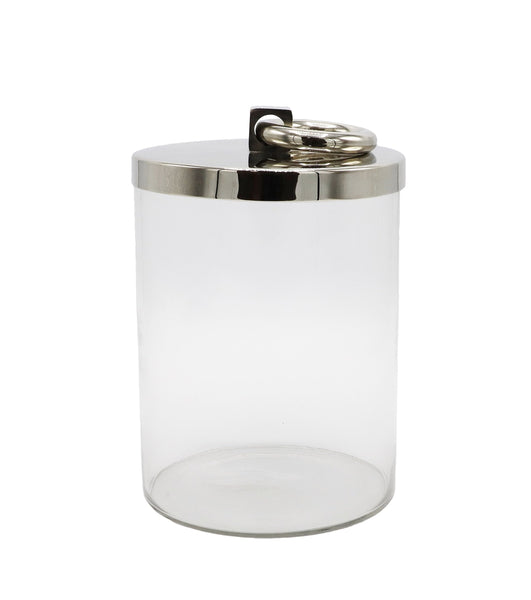 Glass Container with Polished Nickel Lid, Medium