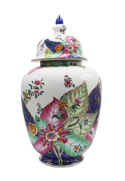 White Tobacco Leaf Porcelain Jar