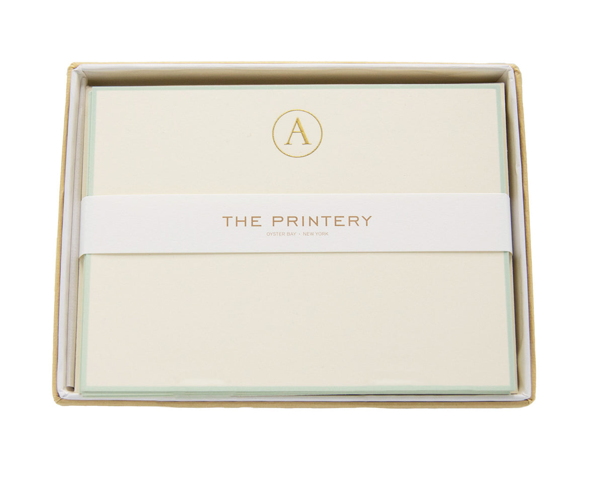 A-Initial Letter Note Cards with Aqua Border