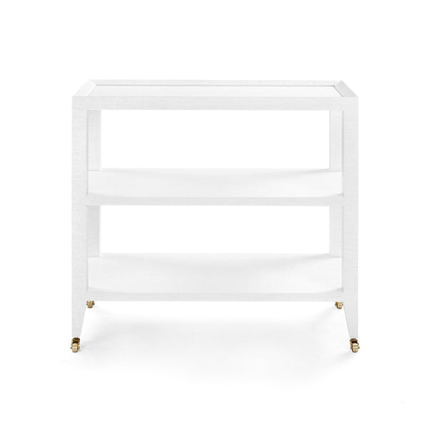 Lacquered Grasscloth Bar Cart