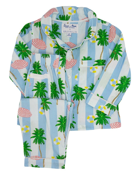 Kid's Beach Blue Long Sleeve PJ Set