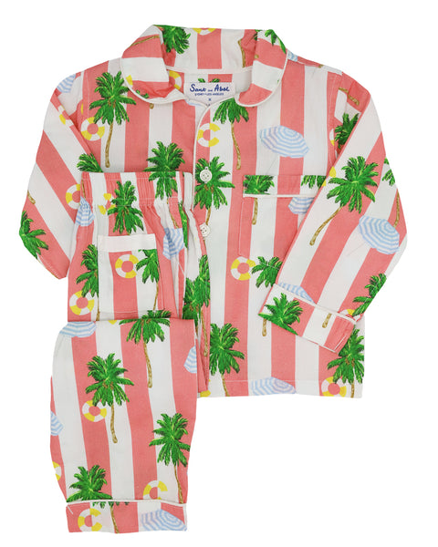 Kid's Beach Coral Long Sleeve PJ Set