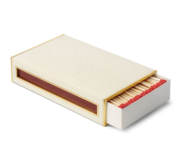 AERIN Shagreen Oversized Match Box, Cream