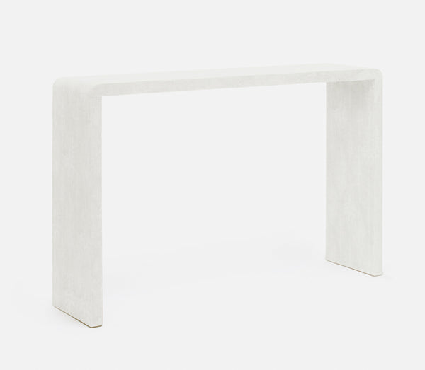 Faux Shagreen Console in Ivory