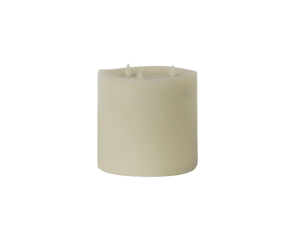 "Moving Tri-Flame Outdoor Pillar LED Candle, 6"" X 6"""