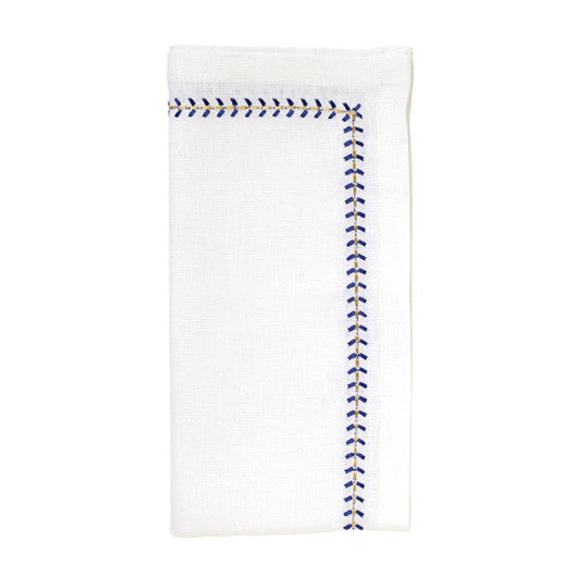 Set of 4 Cobalt Herringbone Linen Napkins
