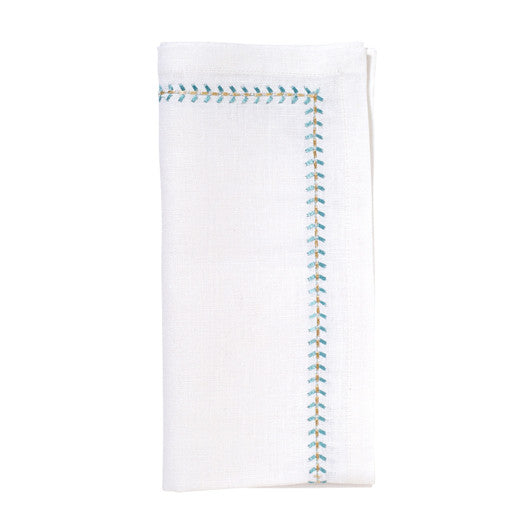 Set of 4 Seafoam Herringbone Linen Napkins
