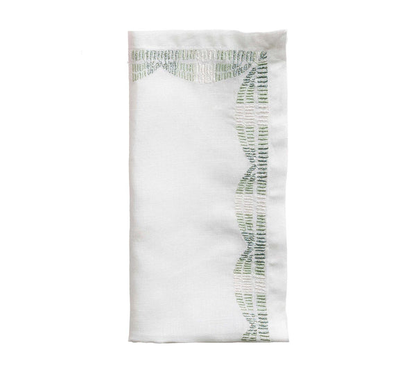 Set of 4 Patina Ombre Napkins, White/Seafoam