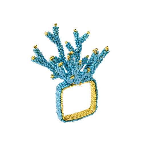 Turquoise Coral Branch Napkin Ring