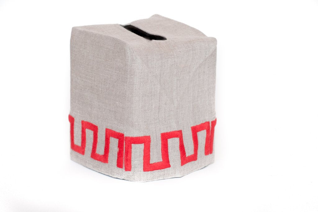 New Greek Key Tissue Box Cover, Red on Flax