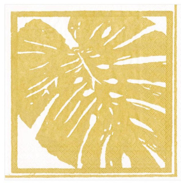 Palm Leaves Gold Cocktail Napkins