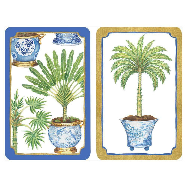 Potted Palms Playing Cards with Acrylic Holder