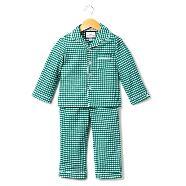 Childrens Green Gingham Flannel Pajamas