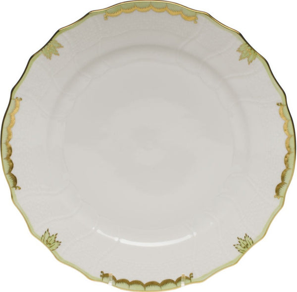 "Herend Princess Victoria Dinner Plate, Green 10.5""D"