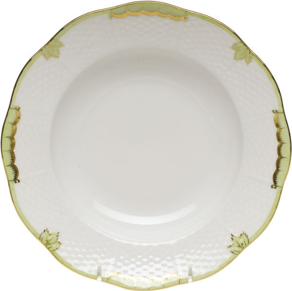 "Herend Princess Victoria Rim Soup Plate, Green 8""D"